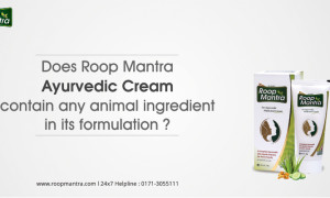 Does Roop Mantra Ayurvedic cream contain any animal ingredient in its formulation?
